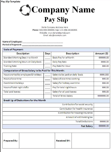 Pack Of 28 Pay Salary Slips Templates Free Daily Life Docs Payroll Template Templates Words