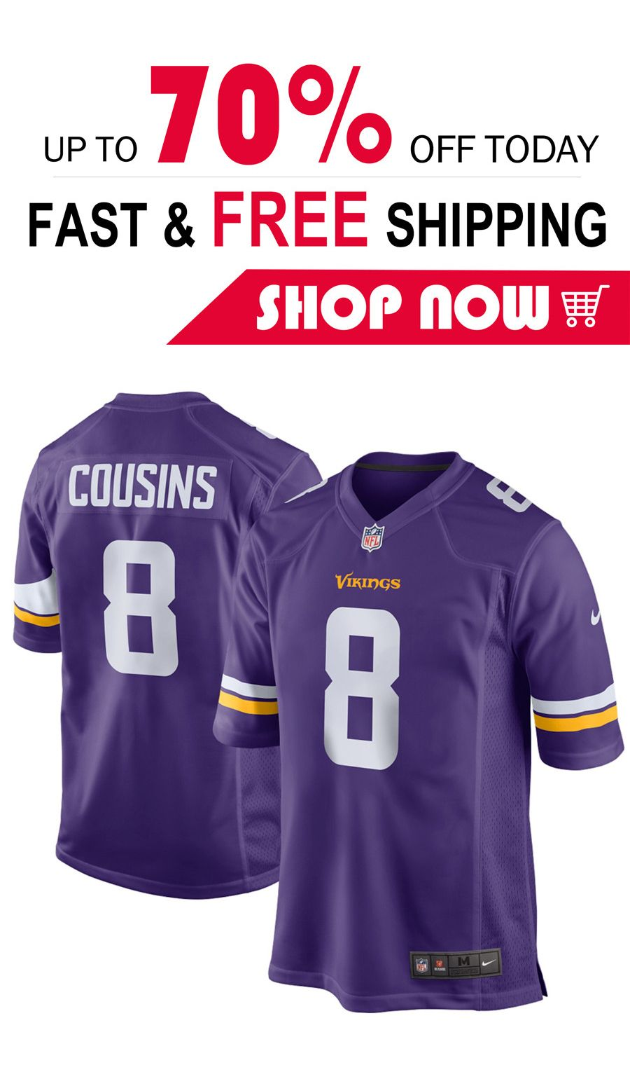 066f840d 2019 的 mens Kirk Cousins Minnesota Vikings football Game jersey ...
