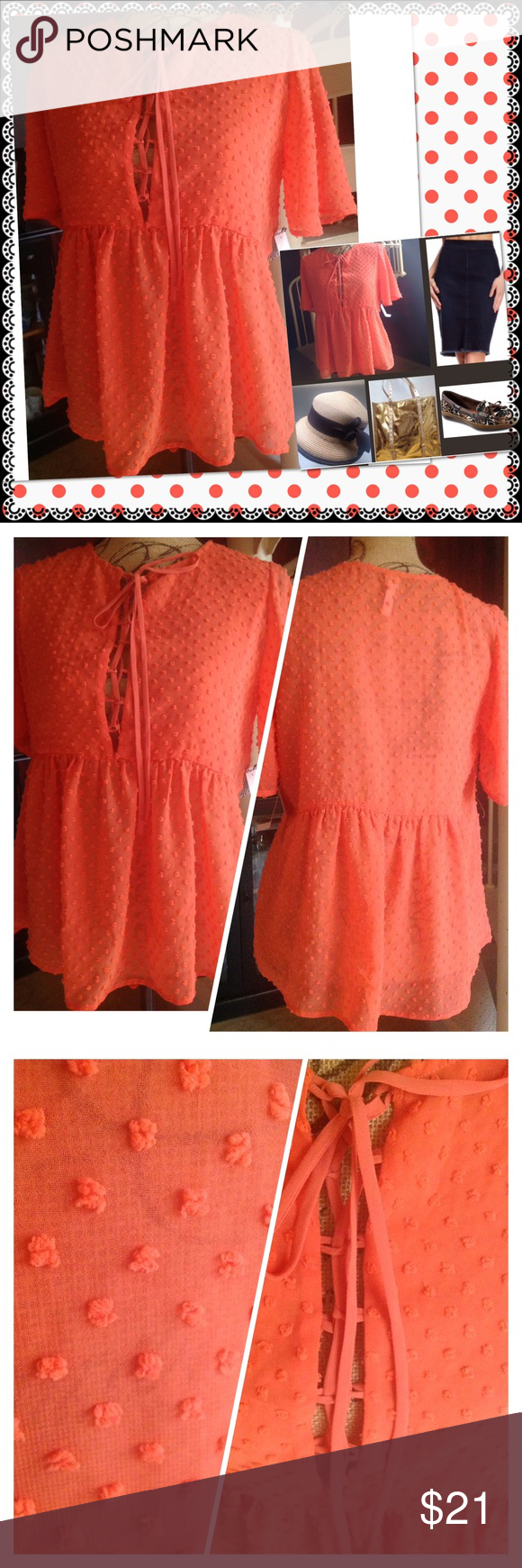 LACEY PARTIALLY SHEERED BEAUTIFUL  TOP SHEER BEAUTY ADJUST YOUR OPENING  WITH SOFT TIES. THE BODICE IS SLIGHTLY THICKENED FOR DISCRETION, From Jeans to White Slacks in Summer or With a Denim Skirt. Have it Right here.  Only your Imagination Limits You Don't Let it.  100% polyester FREE PRESS Tops Blouses