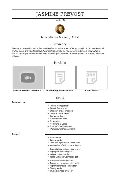 freelance hairstylist makeup artist Resume example resume