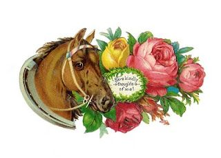 Antique Images: Free Horse Clip Art: Antique Die Cut of Horse and Roses