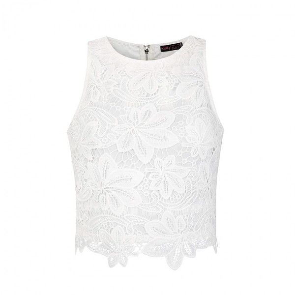Ally Fashion Floral edge lace crop top ($21) ❤ liked on Polyvore ...