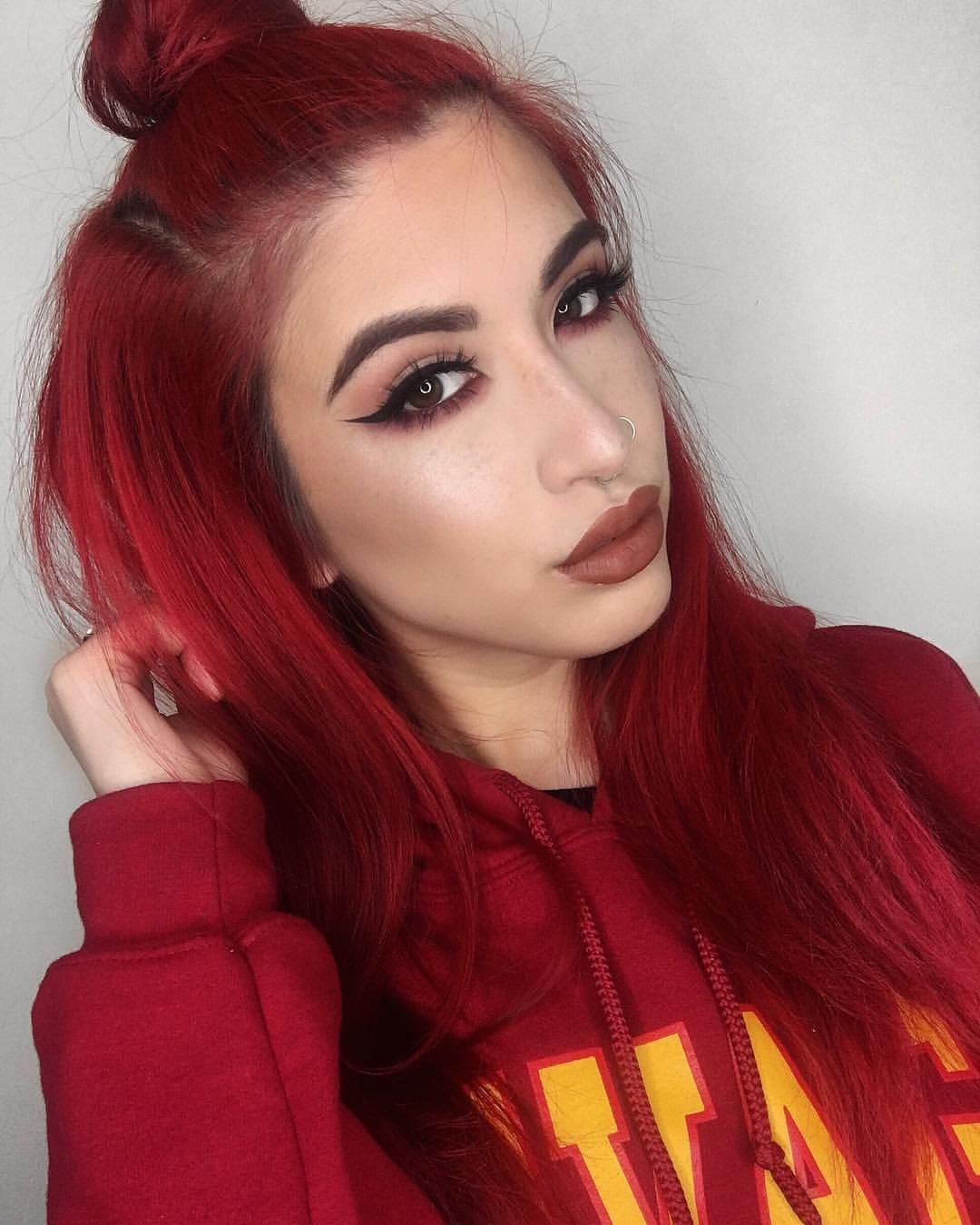 207 Likes 9 Comments Lexi Lazaro Lexilazaro On Instagram Hoodie Weather Details Anastasiabeve Wine Red Hair Bright Red Hair Black Red Hair