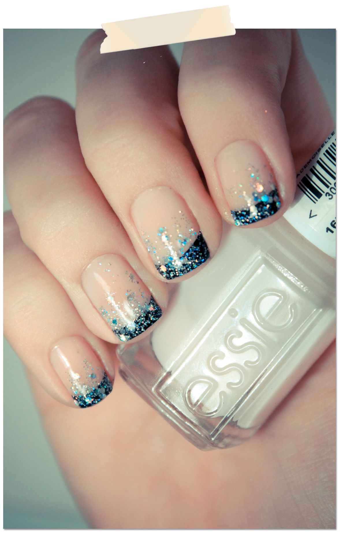 French manicure with black and sparkles!