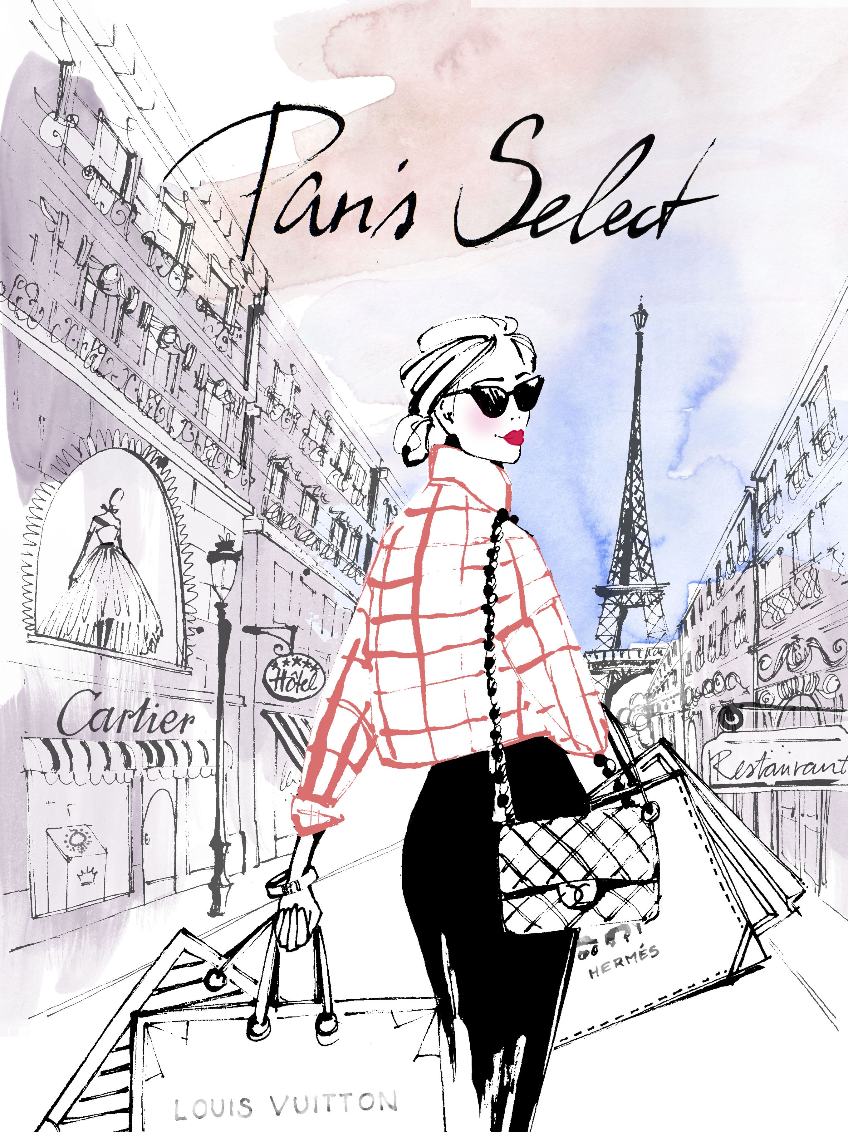 french lady with shopping bags #shopping #eiffel tower # ...