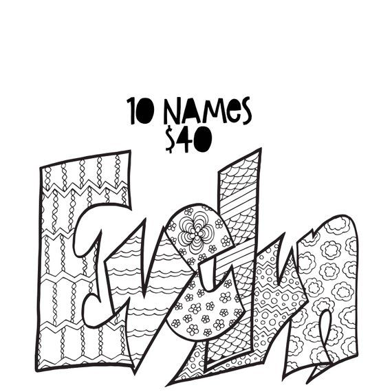 (10) 8.5 x 11 Custom Name Coloring Pages (1) Physical copy