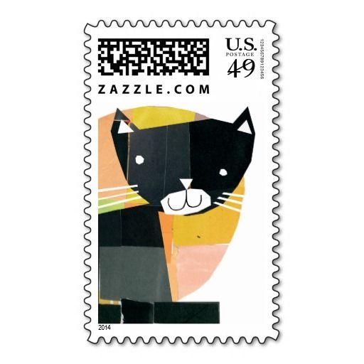 Black Cat Spooks Halloween postage stamps
