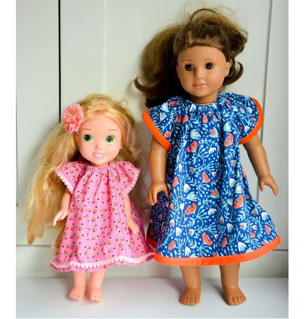 Free pattern: Angel Sleeve Dress for dolls | Sleeved dress, Free ...