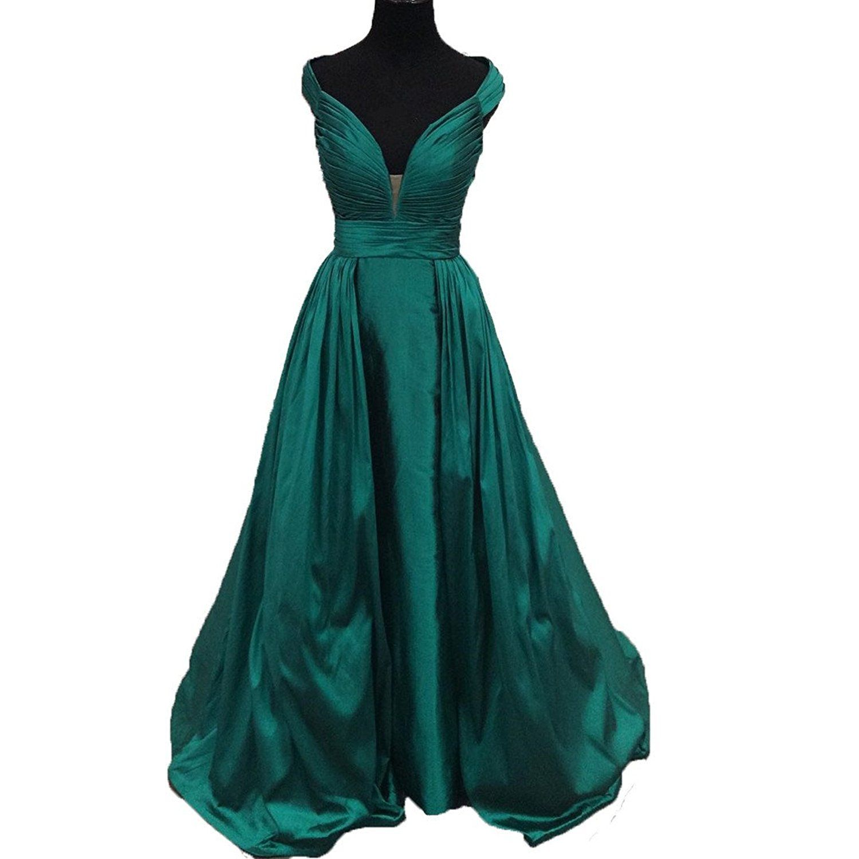 Spbridal long taffeta v neck evening prom dresses read more