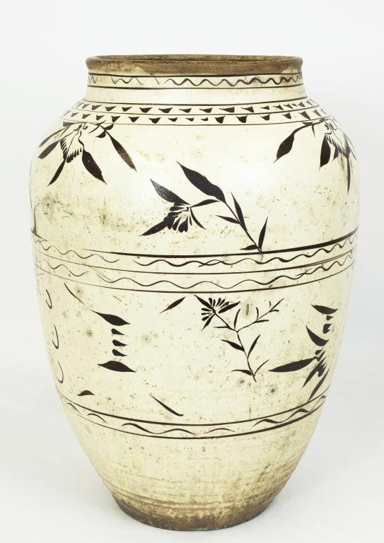 Large Antique Korean Pottery Vase Painted With Bamboo And Flowers