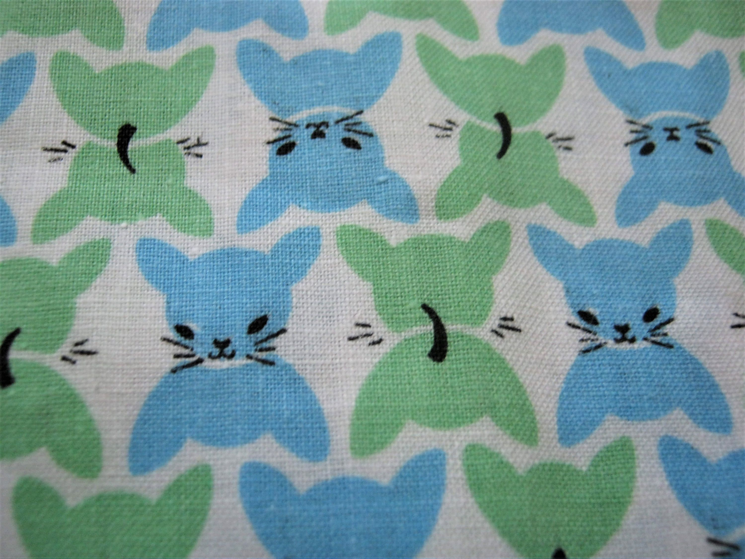 Vintage Kitten Fabric 1930 S Or 1940 S Fabric Cats On White Background Cotton Blue And Green Kitties True Vintage Width 36 Esta Fabric Antique Fabrics Vintage