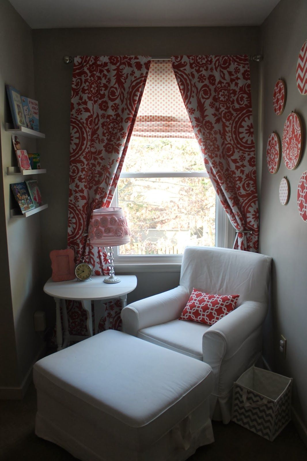 Ikea JennyLund Chair and Ottoman DIY embroidery hoop wall art faux roman shade Ikea Ribba picture ledges for books. & Jennylund chair from Ikea. With monogram pillow. Would make pillow ...