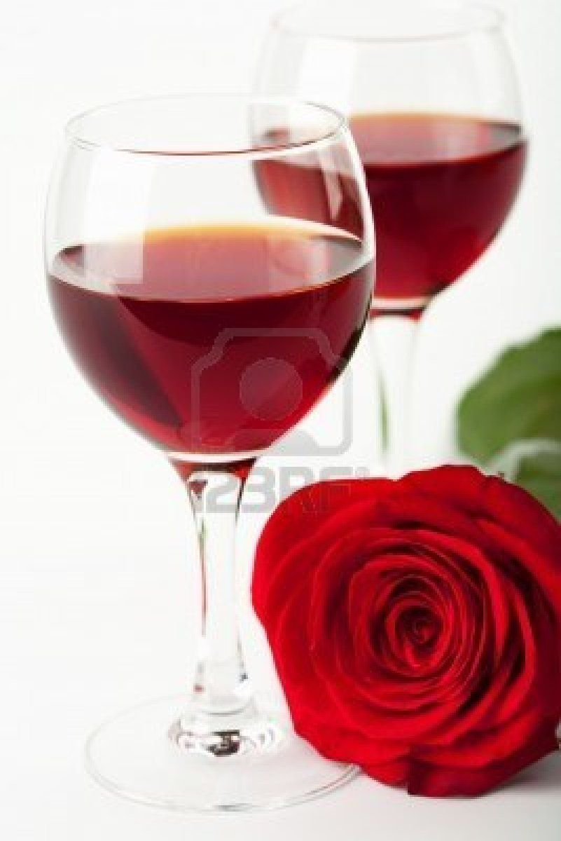 Stock Photo Wine Red Roses Red Wine