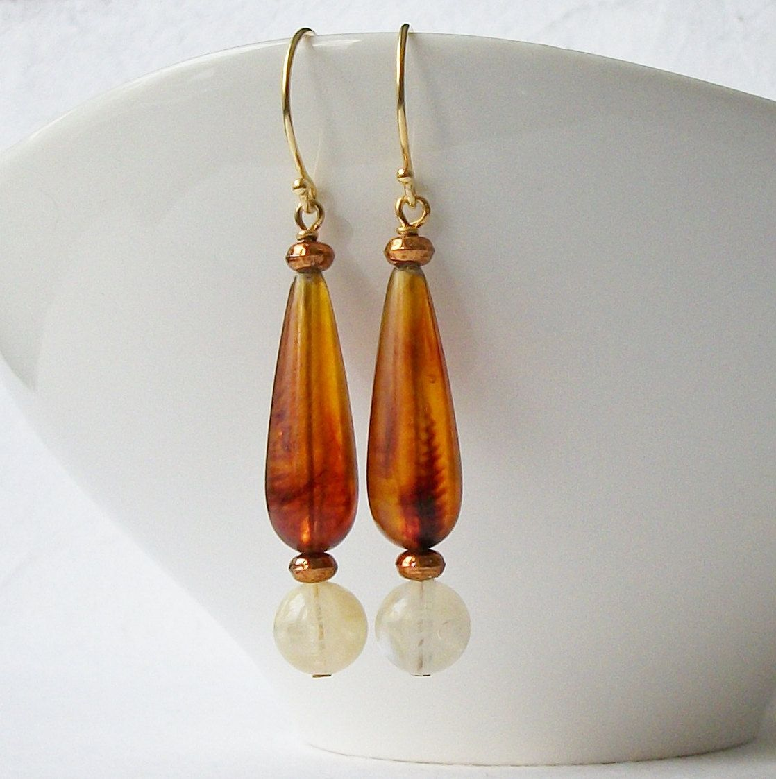 Upcycled Vintage Brown and Milky White Dangle Earrings by PeriniDesigns on Etsy