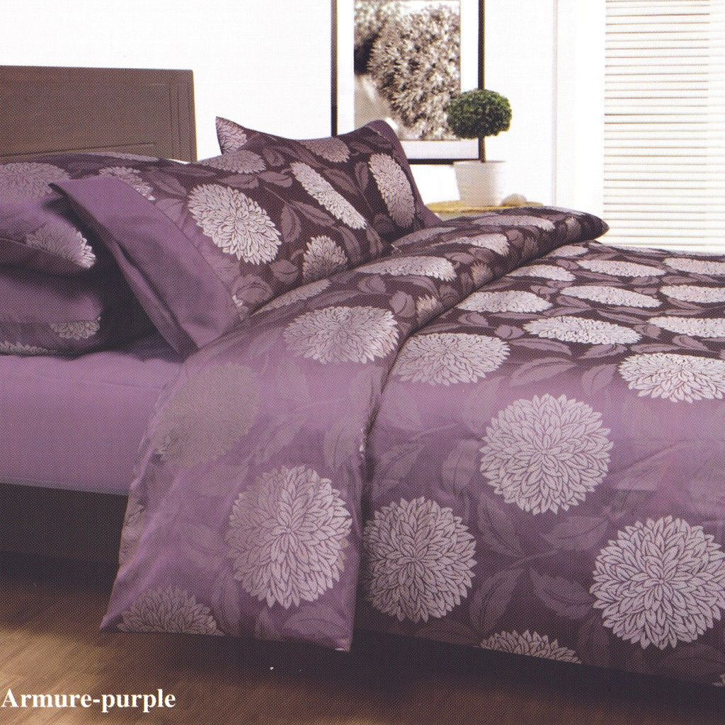 Purple Bed Covers Armure Plum King Jacquard Quilt Doona Duvet Cover Set Brand New