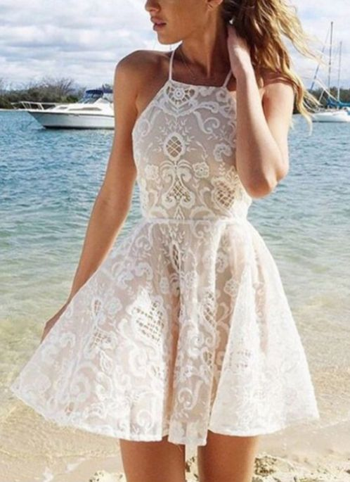 Discount Trendy Sleeveless Prom Dresses, White Sleeveless Homecoming ...