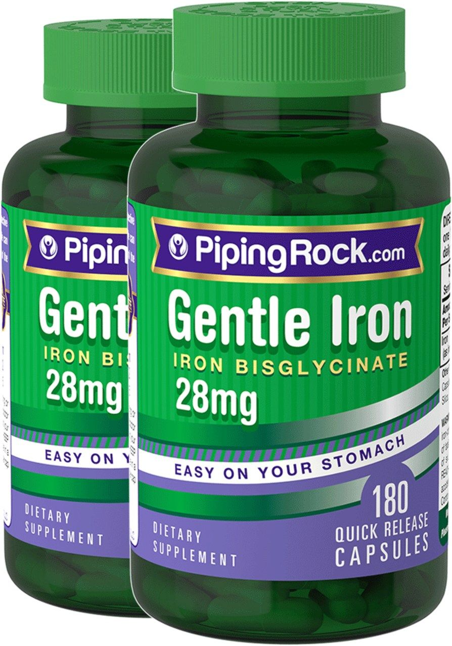 Gentle Iron 28 Mg Iron Bisglycinate 2 X 180 Capsules Piping Rock Health Products Iron Bisglycinate Premium Ingredients Health