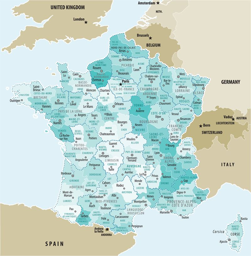 A map showing the 22 administrative regions of France and the departments found within each one ...