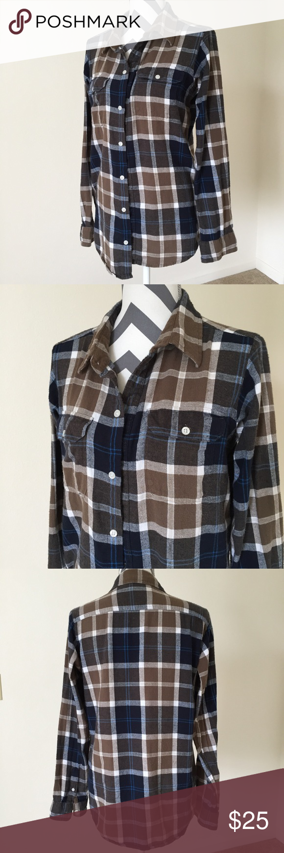 Flannel shirt season  Urban Pipeline Brown Navy Flannel Top Size XL  Flannel shirts