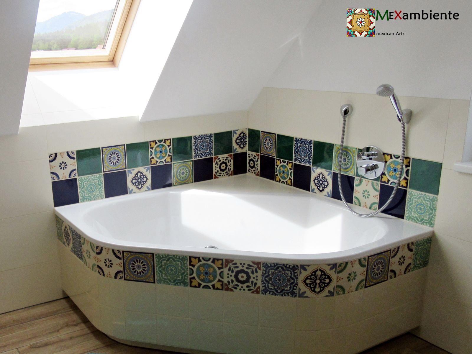 Badewanne Verkleidet Mit Fliesen Aus Mexiko Mexikanische Fliesen Badewanne Badewanne Verkleiden