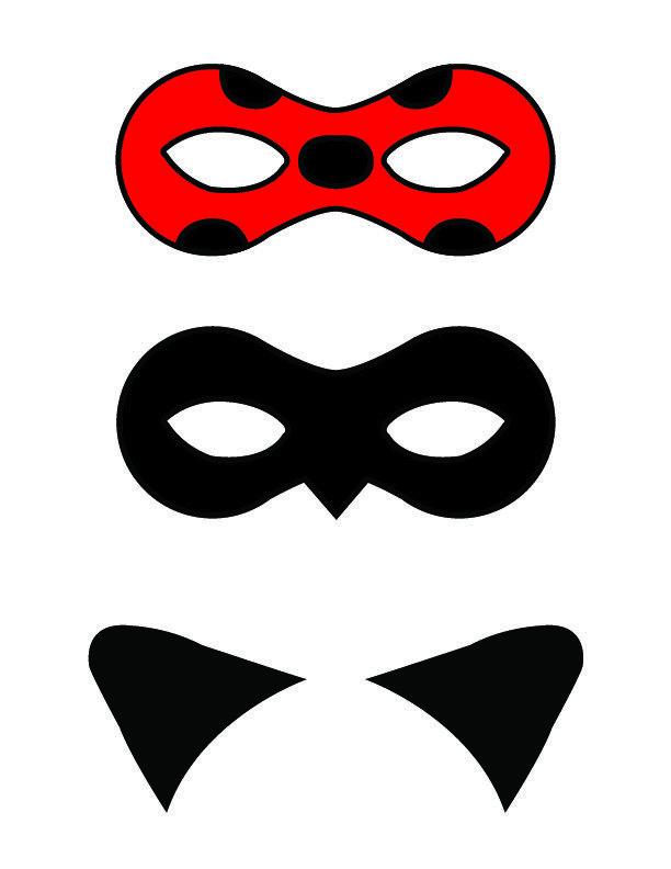 printable masks  cat ears  ladybug  cat noir