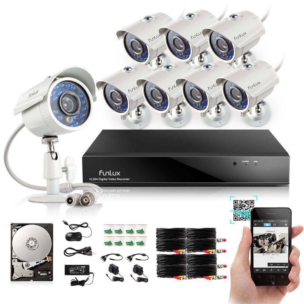 Funlux 8 Outdoor CCTV Home Security Camera System 8 CH HDMI DVR ...