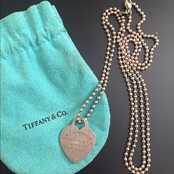 Return to Tiffany heart pendant necklace Return to Tiffany heart pendant necklace. On 34 inch chain. Tiffany & Co. Jewelry Necklaces