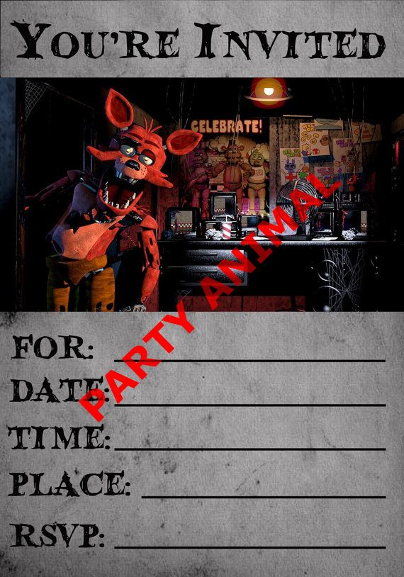 Five Nights At Freddys Foxy Party Invitation Instant Download