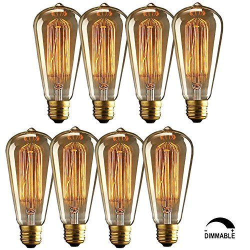 8 Pack Vintage Edison Bulbs Squirrel Cage Long Life Filament Retro Antique Light Bulb For Home Light Fixture Antique Light Bulbs Light Bulb Edison Light Bulbs