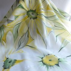 Foulard écharpe en soie peint main fleuri