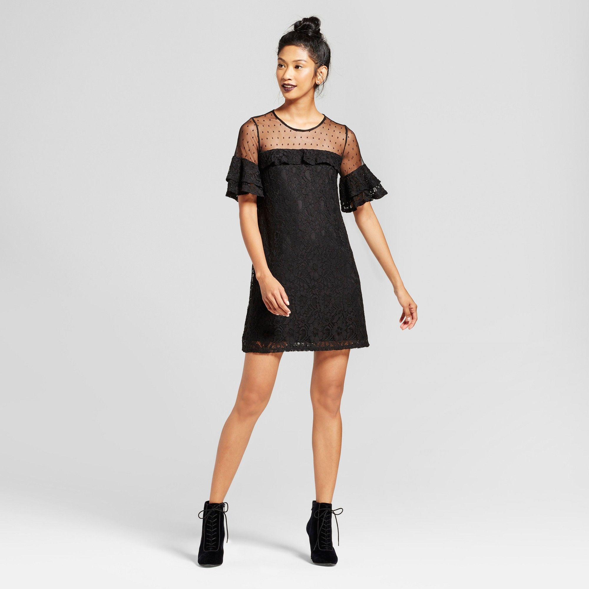 Womenus lace illusion dot dress hearts juniorsu black s