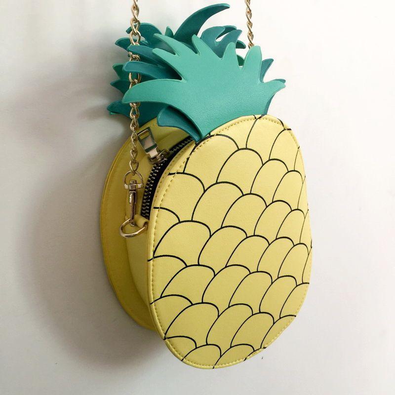 4dba3a5b98 Pineapple Fruit Shaped Women Chain Shoulder bag Girl Female Brand  Interesting Design PU leather Messenger Bag Ladies Hand Clutch