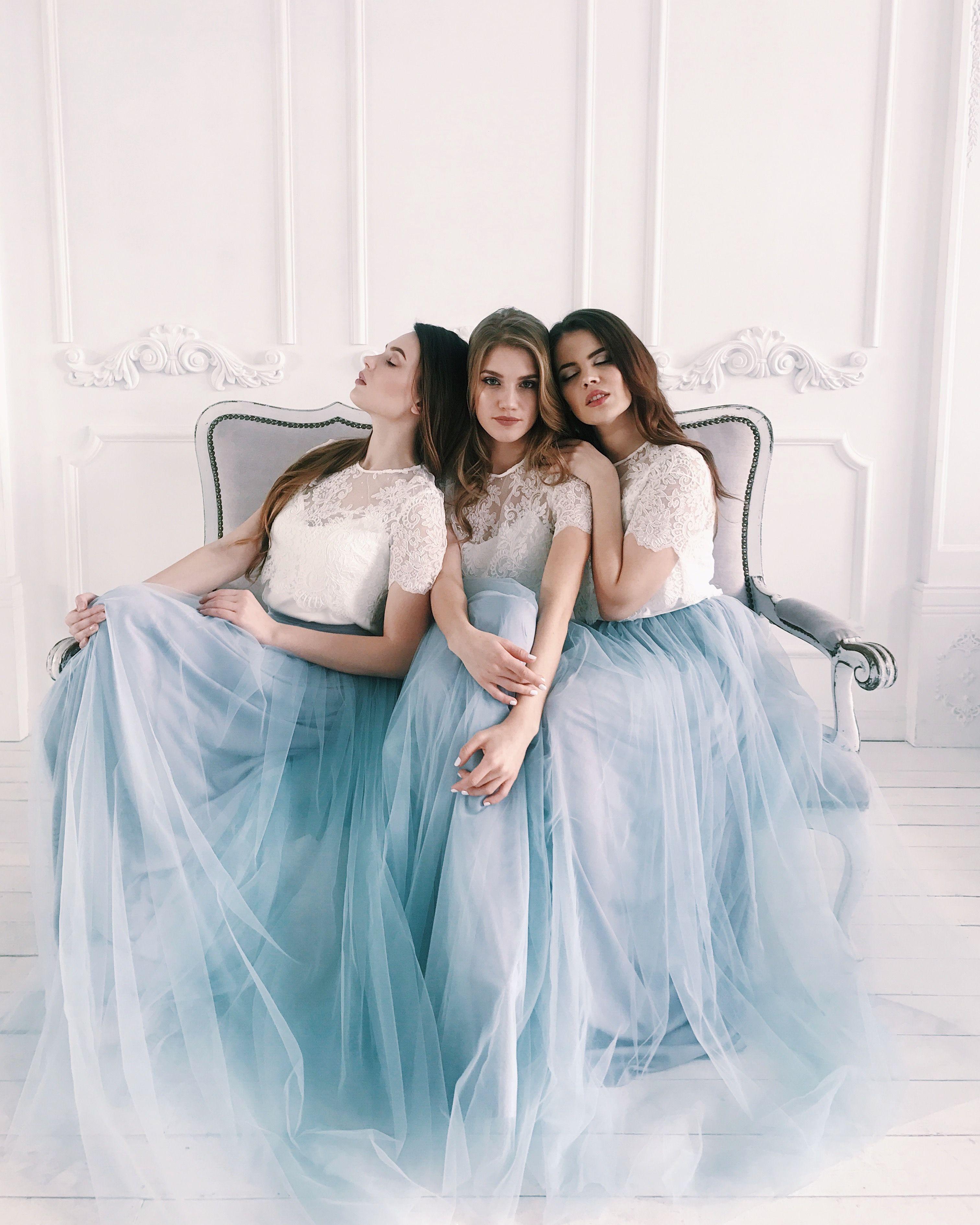 Boho Tulle Wedding Dress Bridesmaid Dresses Bridal Two Etsy Two Piece Bridesmaid Dresses Tulle Bridesmaid Dress Tulle Bridesmaid Dress Long