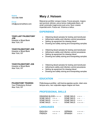 Download  Professional Phlebotomy Resumes Templates Free  Diet