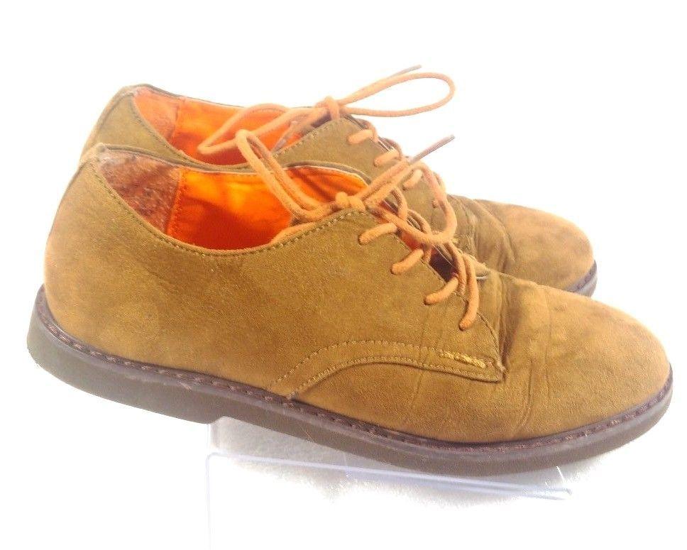 Cole Haan boys size 3 cognac brown Oxford faux suede dress shoes lace up