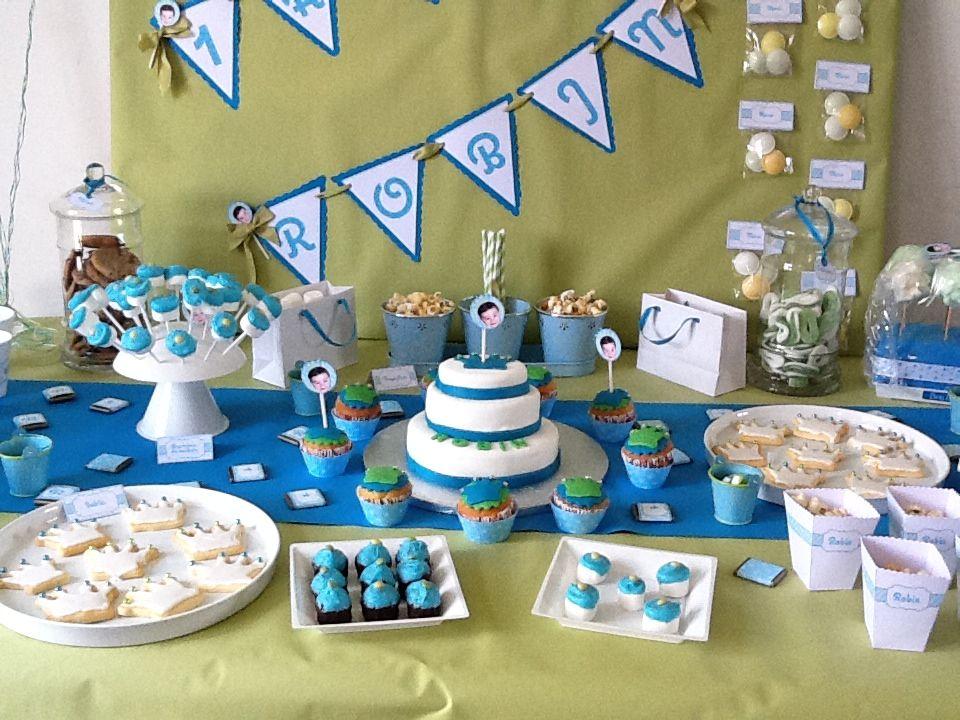 table à desserts bleu vert