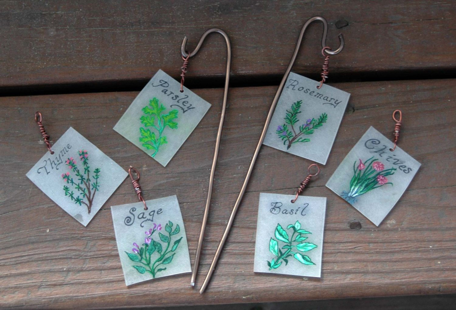 Herb Garden Plant Markers, Hand Painted Garden Tags, Plant
