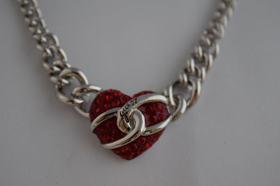 GUESS Damen Halskette UBN71291 silber, Herz in rot ...gibt es im Shop bei ebay zack_shop24 :-)