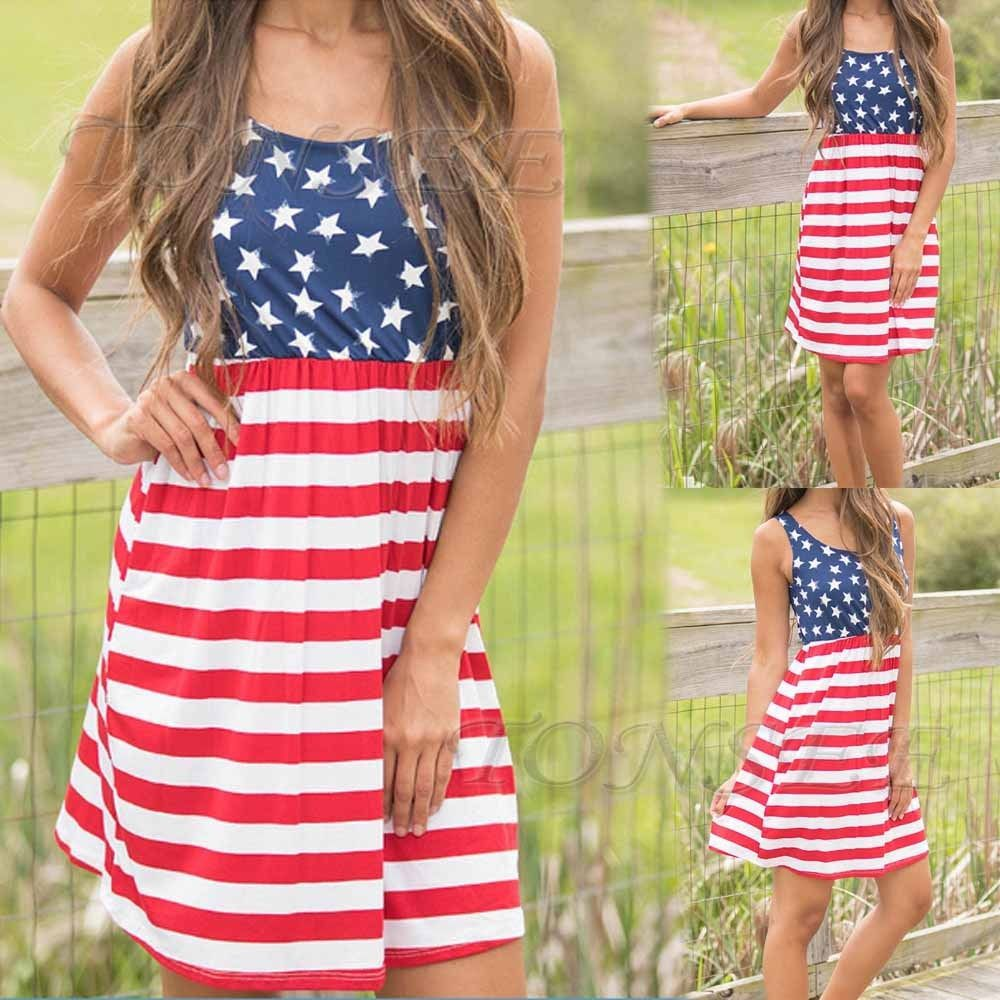 Summer Women American Flag Stars And Stripes Sleeveless Casual Dress Tank  Dress 344b8f6a9