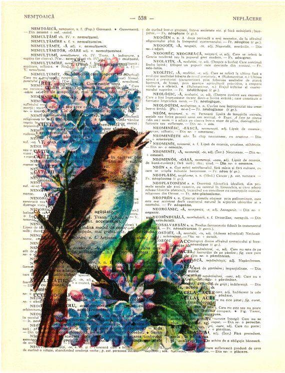 VOGEL & Blauwe bloem - woordenboek Art Print - boek pagina Print gerecycled  Je kan een soortgelijke afdruk, vogel en roze bloem hier zien: https://www.etsy.com/listing/107890392/bird-pink-flower-dictionary-art-print?ref=listing-6  Deze mooie afdruk is gemaakt op een vintage Roemeens woordenboek-pagina, die zou zijn een prachtige aanvulling op uw huis of kon maken een geweldig cadeau. Geen twee afdrukken zal steeds hetzelfde zijn.  Elke prent is individueel en zorgvuldig afgedrukt op een…
