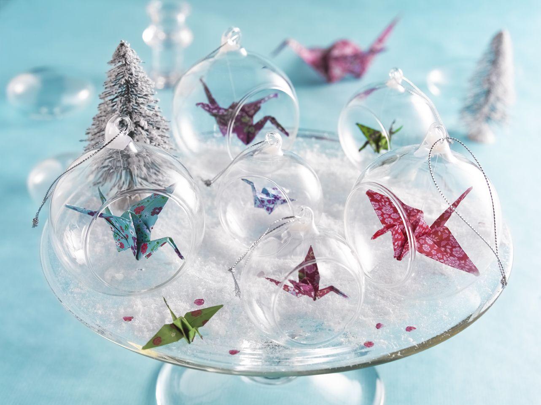Boule De Noel Transparente A Decorer diy - boules de #noël en origami