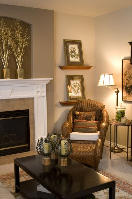 Family room wall beside fireplace decorating ideas in - Small wall decor ideas ...
