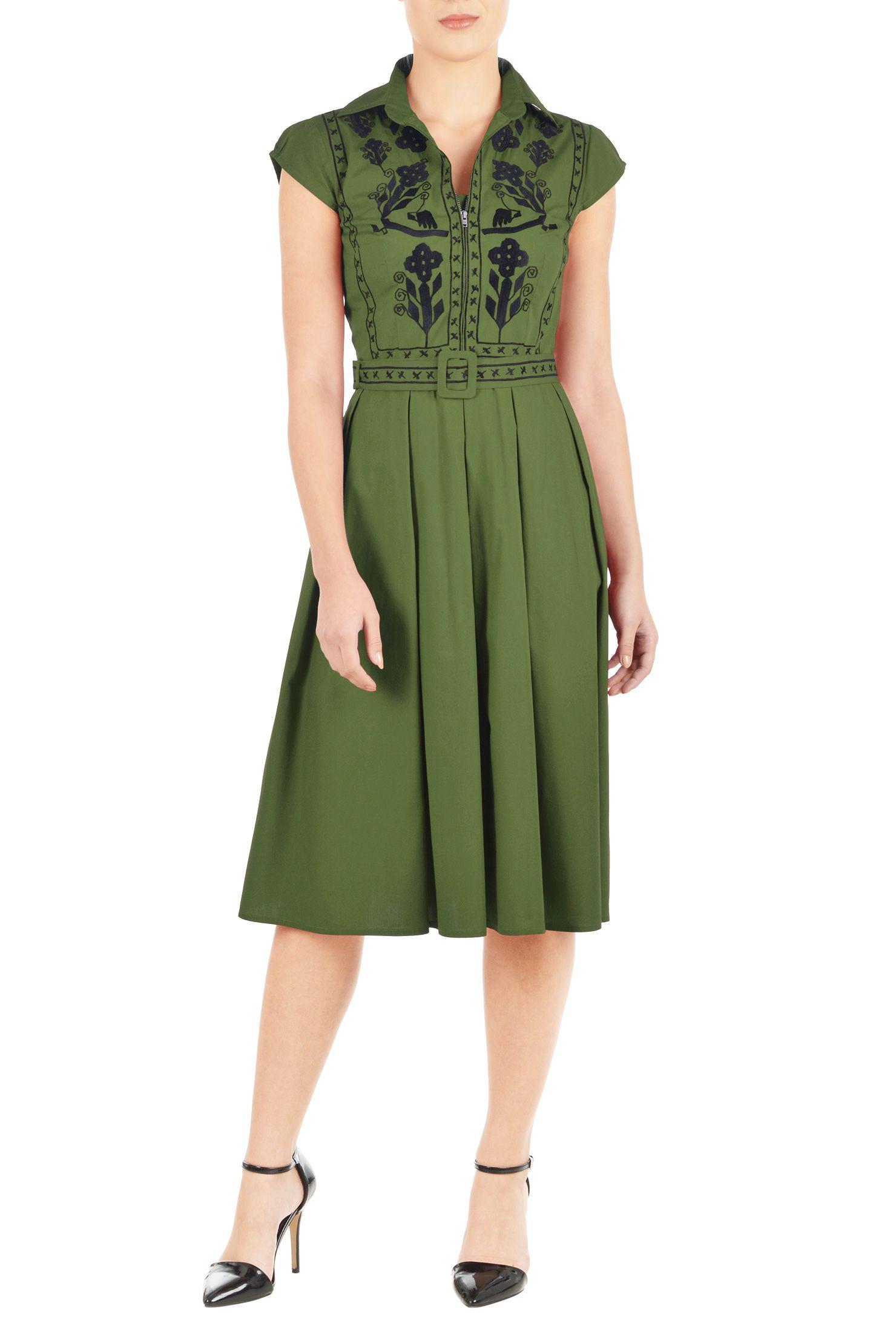Below knee length dresses cap sleeve dresses collared dresses cot