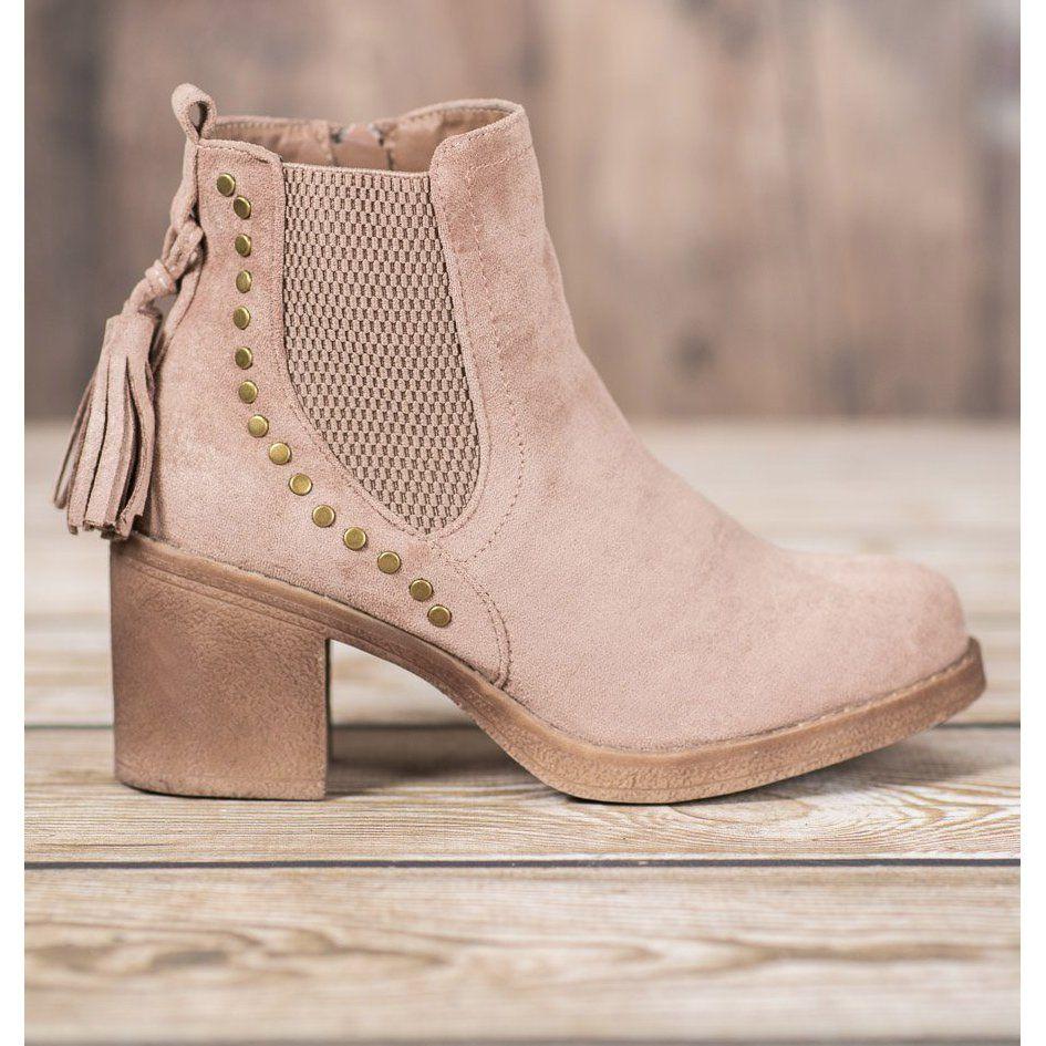 Small Swan Sztyblety Z Fredzlami Brazowe Boots Jodhpur Boots Womens Boots
