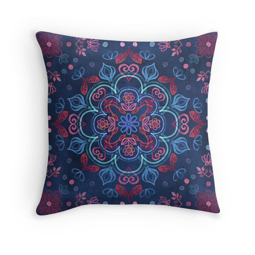 """""""Cherry Red & Navy Blue Watercolor Floral Pattern"""" Throw Pillows by micklyn 
