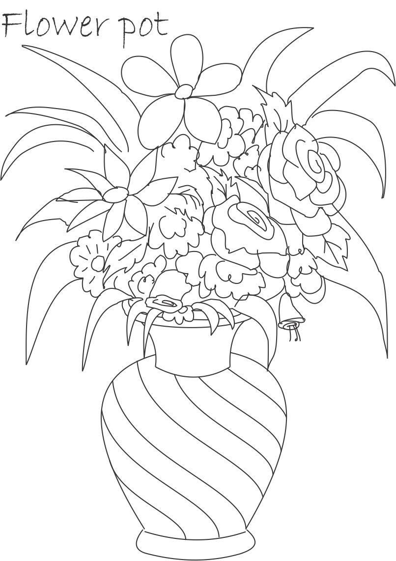 21239 Flower Pot Coloring Printable Page For Kids
