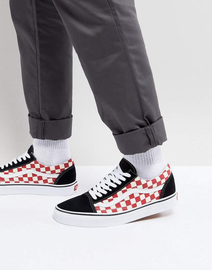 Vans Old Skool Checkerboard Sneakers In Red VA38G135U | Vans