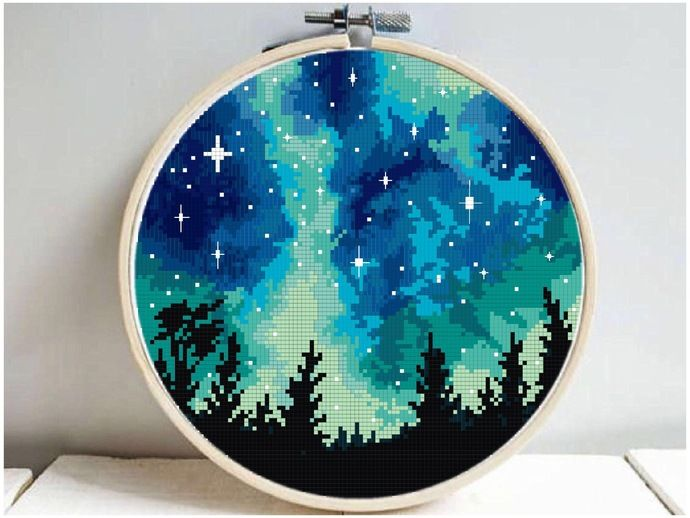Photo of Landscape Modern Cross Stitch Pattern, starry night, galaxy, nature easy counted cross stitch chart, mountain, forest, instant download PDF