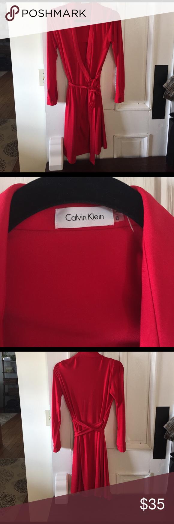New calvin klein red wrap dress size red wrap dress wrap