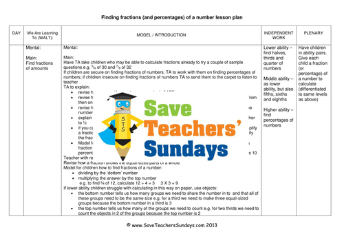 Fractions And Percentages Of Amounts Worksheets Lesson Plans